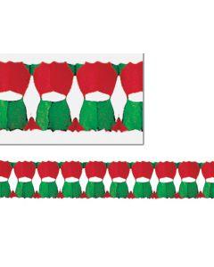 12' Holly Leaf Garland, Red/White/Green - HOL-0478