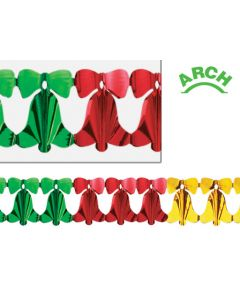 12' Metallic Bell Arch Garland, Red/Gold/Green - HOL-0403