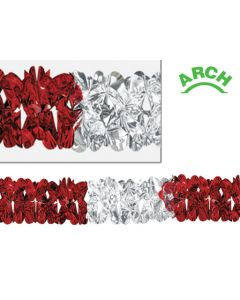 12' Metallic Deluxe Arch Garland, Red/Silver - VAL-0403