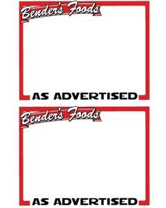 Benders Food's 2-Up As Advertised