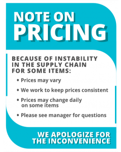 12. Note On Pricing Shelf Sign 8.5x11
