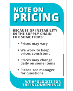 12. Note On Pricing Shelf Sign 8.5x5.5
