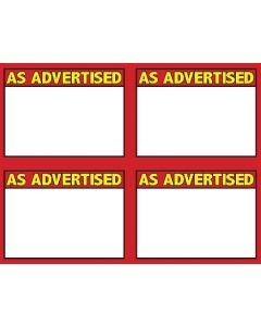 3-Color As Advertised 4 UP - 3CAA4U - MINIMUM 10 PACKS