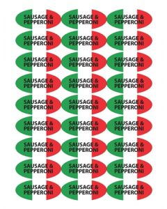 Pizza Label - SAUSAGE PEPPERONI PZASP7