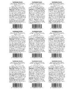Pizza Label - SUPREME PZAS14