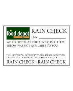 FORMS FRESH FOOD DEPOT RAIN CHECK